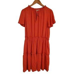 Belle Sky Red Tiered Dress Flutter Sleeve Size XL